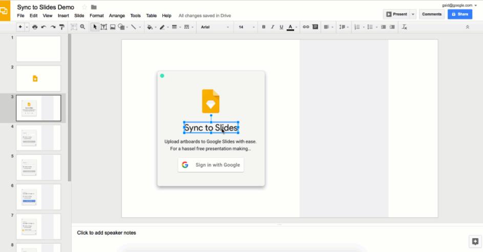 googleスライドにsketchのデザインをアップできるプラグイン sync to